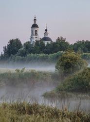 The early foggy morning in Vladimir region