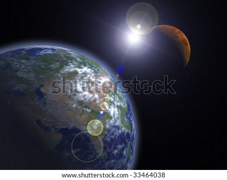 The Earth and Mars