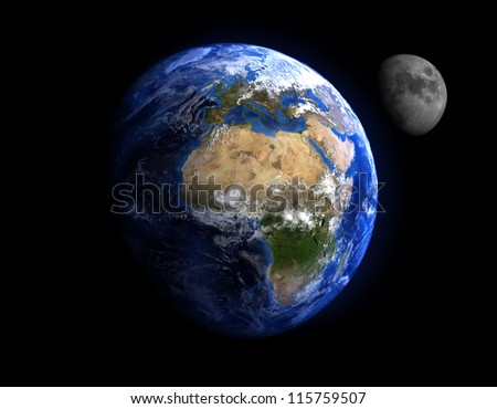The Earth and the Moon. Extremely detailed image, including elements furnished by NASA.