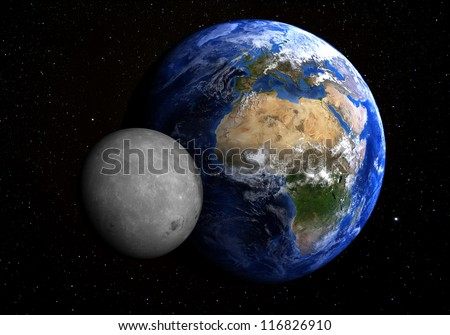 The Earth and the Moon with stars in the background. Extremely detailed. Elements of this image furnished by NASA.