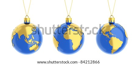 the earth as a christmas balls isolated on white