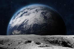 The Earth from moon surface. Elements of this image are furnished by NASA