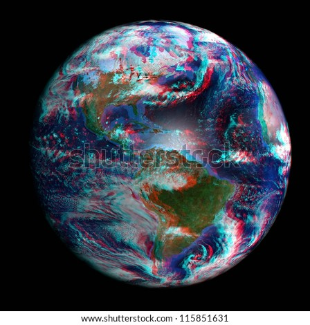 The Earth from space in 3D, showing North and South America. View anaglyph with red/cyan glasses. Extremely detailed image including elements furnished by NASA.