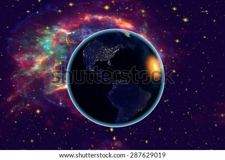 The Earth from space n the background with stars and galaxies showing North and South Americas, Central America, USA, Brazil on globe in the night time; elements of this image furnished by NASA