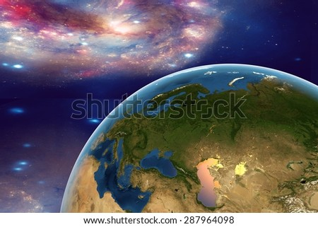The Earth from space on the background with stars and galaxies showing Western Europe, Eastern Europe, Southern Europe on globe in the day time; elements of this image furnished by NASA