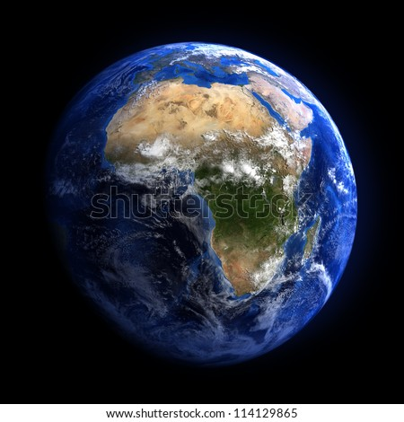 The Earth from space showing Africa. Extremely detailed image including elements furnished by NASA. Other orientations available.
