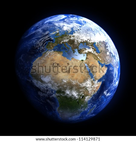The Earth from space showing Europe and Africa. Extremely detailed image, including elements furnished by NASA. Other orientations available.
