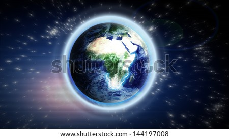 The Earth from space showing Europe and Africa. Extremely detailed image, including elements furnished by NASA