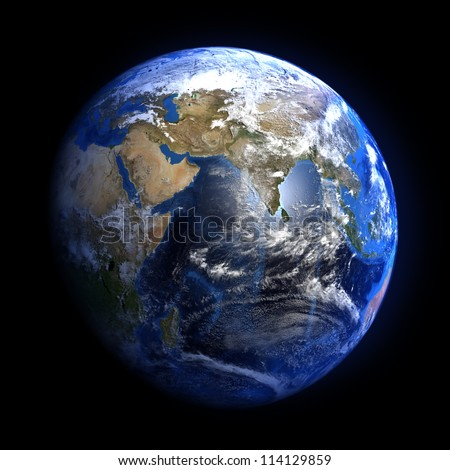 The Earth from space showing India and the Middle East. Extremely detailed image including elements furnished by NASA. Other orientations available.
