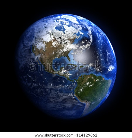 The Earth from space showing North and South America. Extremely detailed image including elements furnished by NASA. Other orientations available.