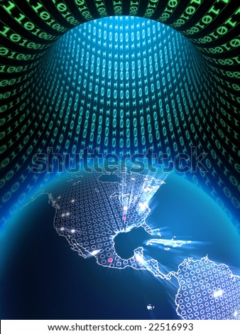 The Earth globe in a binary data tunnel. Digital illustration.