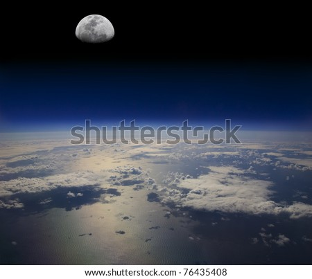 The Earth in space and the Moon - stock photo
