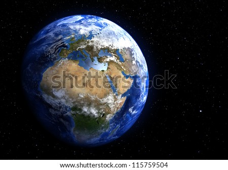 The Earth in space showing Europe and Africa. Extremely detailed image, including elements furnished by NASA. Stars in the background.