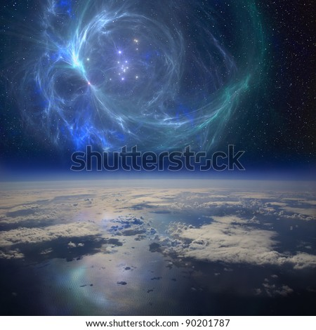 The Earth near a beautiful nebula in space. This is is a conceptual composite image.