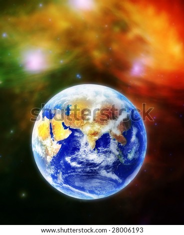 The Earth, our home planet Terra, in space. Original images, including background, credits to NASA public gallery.