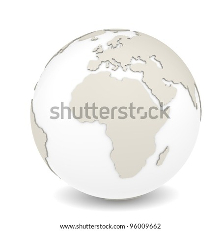 The Earth rotation view 2. The Earth on white background. Sparse design.