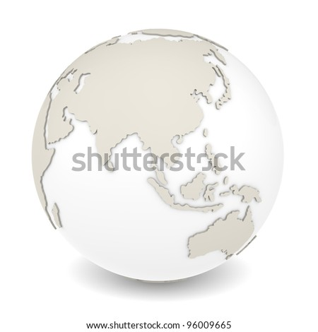 The Earth rotation view 1. The Earth on white background. Sparse design.
