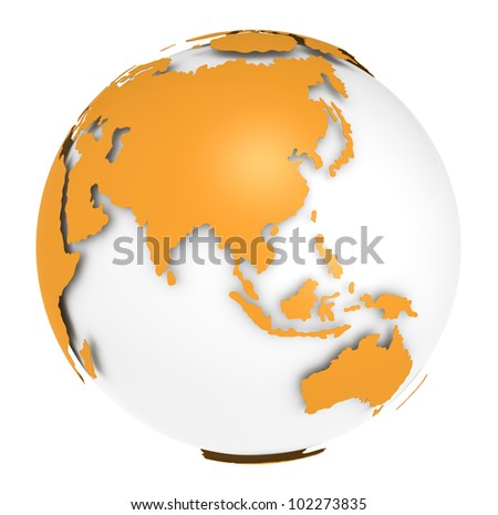 The Earth rotation view 1. The Earth, Orange Shell design. Sparse and Isolated.