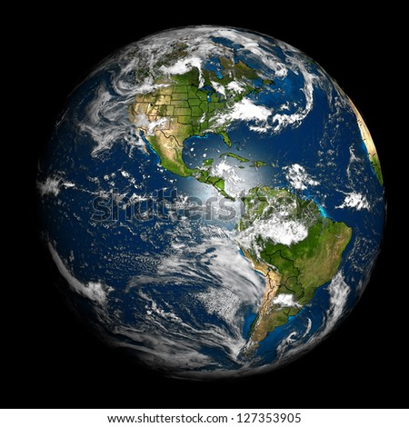 The Earth with accurate country boundaries. Elements of this image furnished by NASA. Other orientations available.