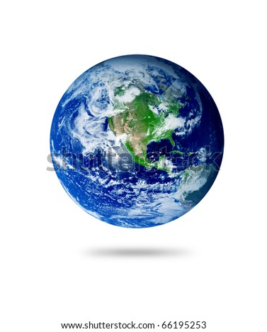 The earth with shadow over white background. Illustration