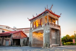 The East Gate Tower in Meinong Taiwan. The translation of the Chinese characters is