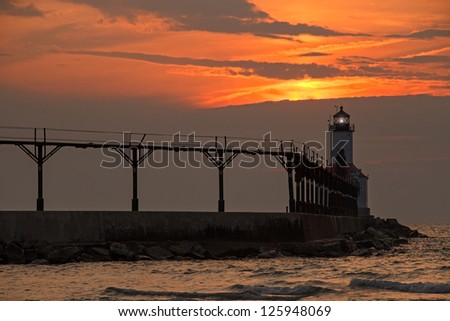 The East Pierhead Lighthouse at Michigan City, Indiana near Sunset