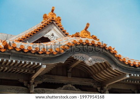 The eave structure of a Japanese temple ストックフォト ©