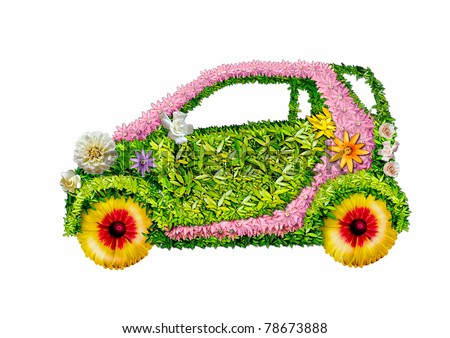 The ecological car from plants on a white background .