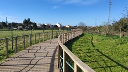 The Ecovia do Cavado e do Homem (Cavado and Man's Ecoway) pathway at the Northern Litoral Natural Park in Fao, Esposende, Portugal. The large estuary of the Cávado river.