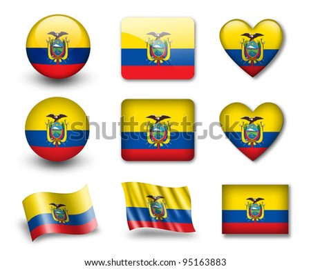 The Ecuador flag - set of icons and flags. glossy and matte on a white background.