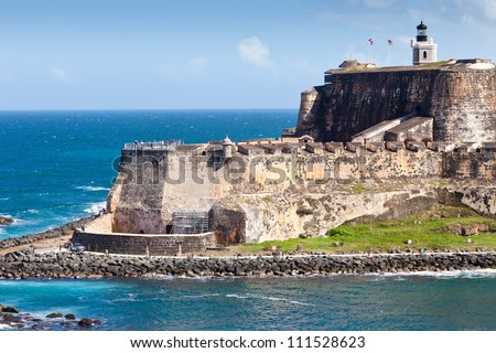The edge and coastline of the El Morro Castle in San Juan, Puerto Rico