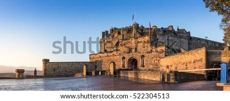 The Edinburgh Castle on a cold autumn morning at sunrise
