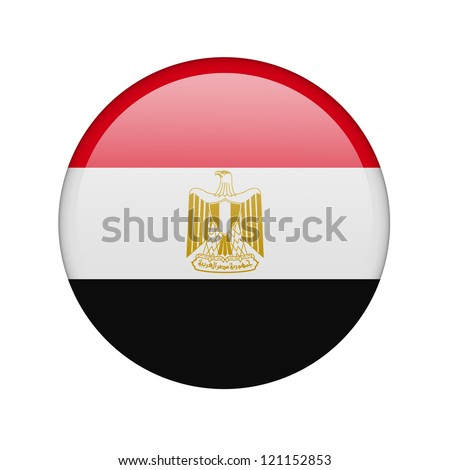 The Egyptian flag in the form of a glossy icon. - stock photo