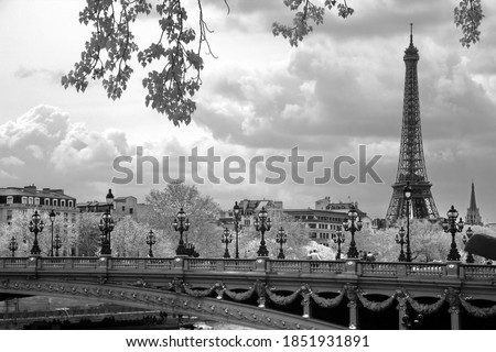 The Eiffel Tower and Alexandre III bridge in Paris, France. Stock photo ©