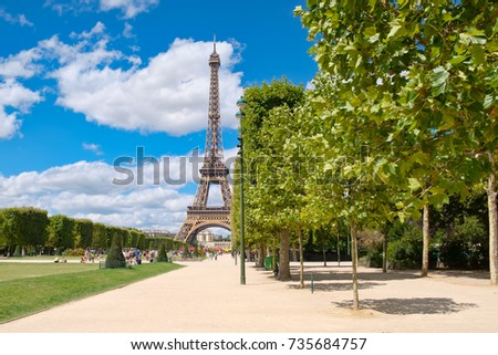 The Eiffel Tower and the Champ de Mars on a beautiful summer day in Paris Stock photo ©