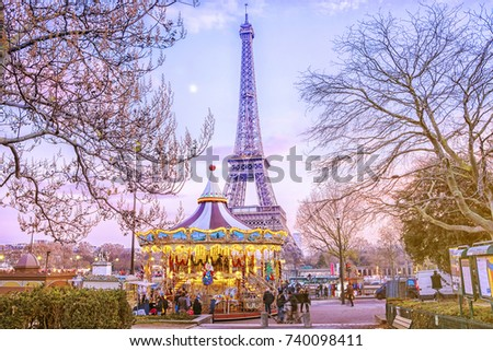 the eiffel tower and vintage...