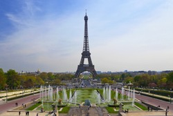 The Eiffel tower as seen from the Trocadero square, Paris, France