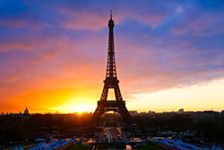The Eiffel Tower at sunset, Paris, france.