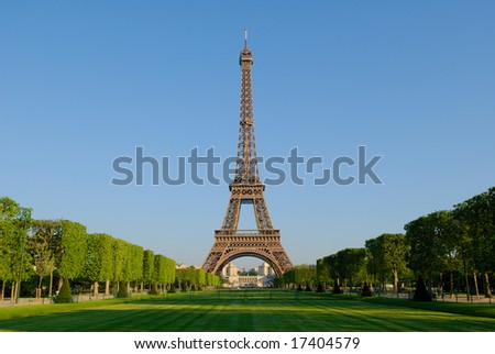 The Eiffel Tower from the Champ de Mars at sunrise.