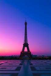 The  Eiffel Tower in Paris at Dawn, France