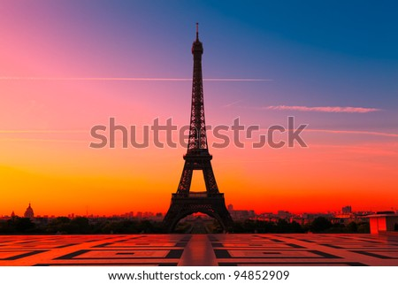 The Eiffel Tower in Paris at sunrise