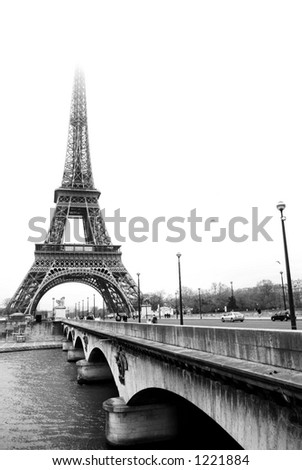 paris france eiffel tower black and. stock photo : The Eiffel Tower