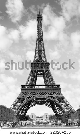The Eiffel Tower in Paris France Black and white image