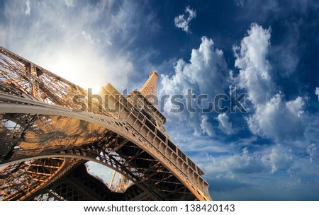 The Eiffel tower in Paris France on a bright sunny day