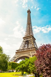 The Eiffel Tower in Paris on a beautiful sunny summer day