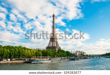 The Eiffel Tower in Paris seen from the river Seine, France