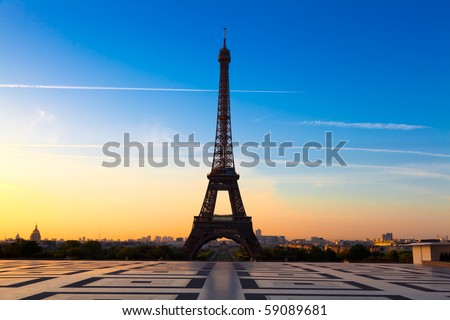The Eiffel Tower in Paris, seen from the Trocadero - stock photo