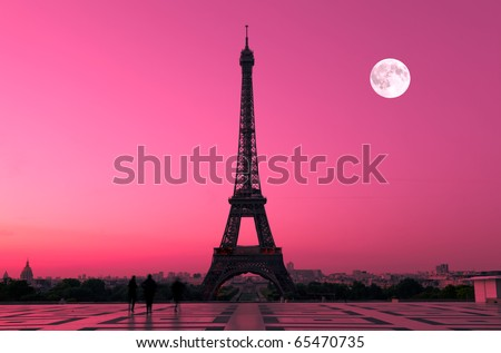 The Eiffel tower in Paris seen from the Trocadero