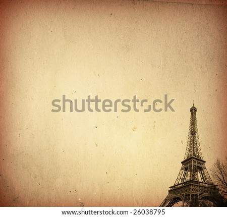 Picture  Eiffel Tower on The Eiffel Tower Old Paper Textures Stock Photo 26038795