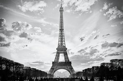 The Eiffel Tower, Paris, France, analog film style